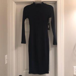 Long sleeve navy blue dress